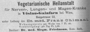 Inserat aus: Vereinsblatt für Freunde der natürlichen Lebensweise 1881: 2176